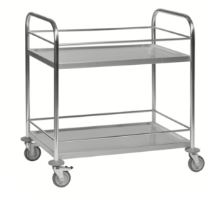 Two shelf stainless steel trolley